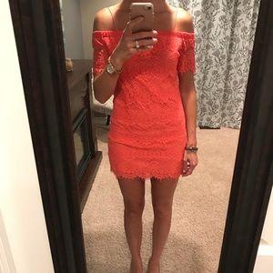 d021701b4d88 Topshop Dresses   Coral Off The Shoulder Lace Mini Dress   Poshmark